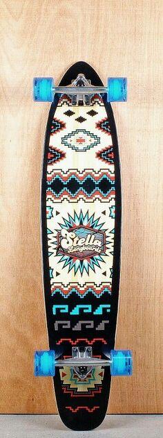 "STELLA | 42"" Kicktail Santa Fe Bamboo Longboard Complete Bottom"