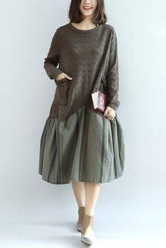 Casual Cotton Kintted Dress Linen Lower Hem Women Dress