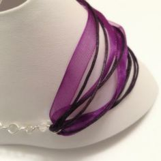 """Purple Ribbon and Chain Anklet 9"""" by HannahsGems for $19.00"""