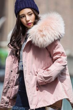 56b97a39f689 Women s Pink 3 In 1 Faux Fur Hood Winter Coat