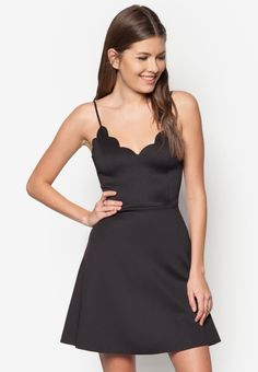 Love Scallop Cami Fit& Flare Dress - Polyblend - V-neckline - Sleeveless - Adjustable shoulder straps - Concealed back zip fastening - Fit and flare silhouette - Unlined