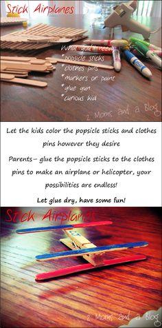 stick airplanes toddler craft