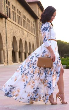 Printed Maxi Dress: Free People shirt dress | Bag: Tory Burch crossbody | Shoes: Stuart Weiztman nudist pum:
