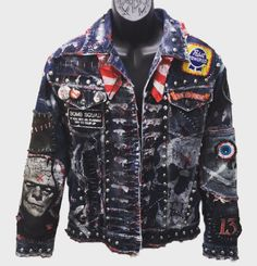 Rock-N-Roll land jacket by Chad Cherry from ChadCherryClothing. Distressed denim jacket with embroidery patches.