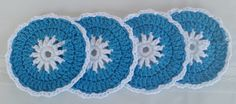 Love this blue and white coaster set! All cotton, see details at:  Etsy.com/shop/GrammysCustomCrochet