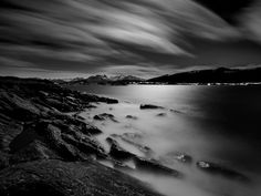 "@kiahans78: ""Moonlight in my fjords. Tags #bwgrammer #explore_bnw #bw_addiction #bnw_zone #raw_bnw #bnwzone…"" Sea Photography, Landscape Photography, Iorek Byrnison, Norway Winter, East Of The Sun, Alesund, Black And White Landscape, Dark Winter, Manet"