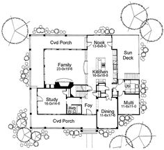 First Floor Plan of Country   House Plan 65860