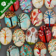 20 PCS Mixed Oval Flat Back Handmade Photo Glass Cabochon - Image Glass Cabochons Rock Painting Ideas Easy, Rock Painting Designs, Paint Designs, Rock Crafts, Diy And Crafts, Crafts For Kids, Arts And Crafts, Egg Crafts, Pebble Painting
