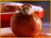 Bestest Baked Apples-makes 4- 104 cal,27g carbs// 4 med Rome or Braeburn apples-1 can (12 oz.) diet bl cherry soda-1 t sugar-1/4 t cinn,  more for topping-1/2 c cool whip//   Core apples. Place them in a casserole dish. Pour the entire can of soda over the apples. Sprinkle with sugar and cinnamon. Bake 375 until apples are tender, 45 minutes. Top each apple with 2 T of the Cool whip Sprinkle with additional cinnamon.
