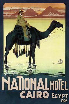 "1900s ""National Hotel Cairo Egypt"" Pyramids Vintage Style Travel Poster - 16x24  | eBay"