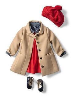 Baby Clothing: Baby Girl Clothing: New Arrivals | Gap. got the coat and dress, just need the shoes and denim shirt...