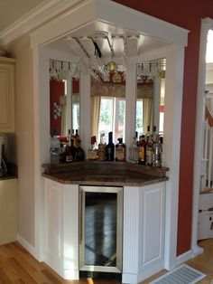20 Gorgeous Small Corner Wine Cabinet Ideas For Home Look More Beautiful Corner Wine Cabinet, Corner Wine Bar, Wine Bar Cabinet, Wine Cabinets, Coffe Corner, Coin Bar, Living Room Bar, Cabinet Design, Cabinet Ideas