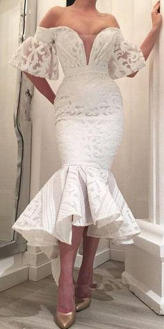 Charming Off the Shoulder Unique Lace Teal Length Cheap Prom Dresses, - Prom Muse African Lace Dresses, African Fashion Dresses, Mode Outfits, Dress Outfits, Fashion Outfits, Chic Outfits, Dress Shoes, Women's Fashion, Elegant Dresses