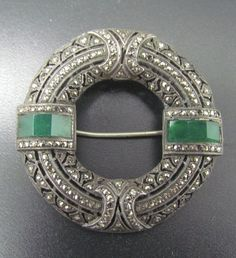 """1 5/8"""" Antique Early German Silver Round Marcasite & Emerald Paste Brooch Pin"""