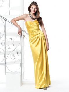 Gold Column Sweetheart and Strapless Zipper Floor Length Prom Dresses With Twist Draped   www.sunp.com