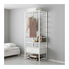 IKEA - ELVARLI, Shelf unit, You can always adapt or complete this open storage solution as needed. Maybe the combination we've suggested is perfect for you, or you can easily create your own.Adjustable shelves make it easy to customize the space according to your needs.Integrated damper catches the running drawer and closes it slowly, silently and softly.