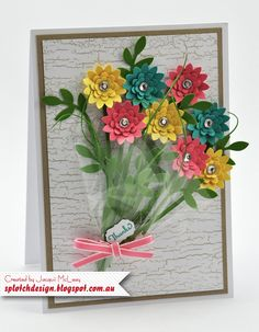 Splotch Design - Jacquii McLeay - Stampin Up - Bunch of Flowers Card