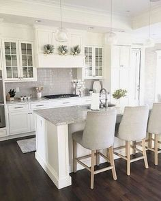 35 The Best White Kitchen Cabinet Design Ideas To Improve Your Kitchen - Trendeh. 35 The Best White Kitchen Cabinet Design Ideas To Improve Your Kitchen – Trendehouse White Shaker Kitchen Cabinets, White Kitchen Cabinets, Kitchen Cabinet Design, Kitchen White, Glass Cabinets, Kitchen With Dark Floors, Country Kitchen, Grey Cabinets, Nautical Kitchen
