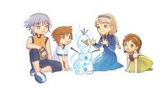 Riku, Sora, Elsa, & Anna building Olaf Source by eclipsestarling fandom Kingdom Hearts Namine, Kingdom Hearts Characters, Kingdom Hearts Fanart, Frozen Art, Dreamworks, Art Blog, Final Fantasy, Cool Art, Awesome Art