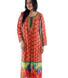 Buy Ada Hand Embroidered Medium Red faux Georgette Lucknow Chikankari Long Kurti long-kurti online