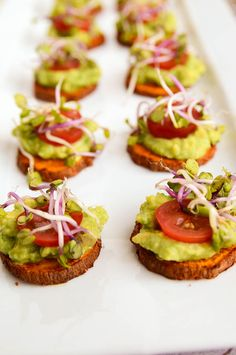 This recipe for sweet potato avocado bites is so easy to make and really healthy too. Roast up some sweet potatoes and put an avocado mixture on top.