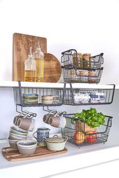 ORGANIZER KOSZYK NA PÓŁKĘ +UCHWYTY NA KUBKI ZELLER 10537727092 - Allegro.pl Kitchen Cart, Plank, Lounge, Cabinet, Furniture, Home Decor, Clever, Tips, Clothes Racks