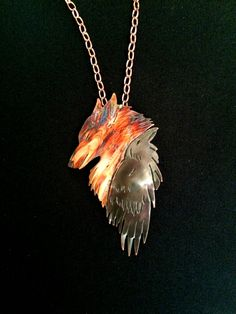 Copper coyote crow pendant raven jewelry by ImagesbyKentOlinger