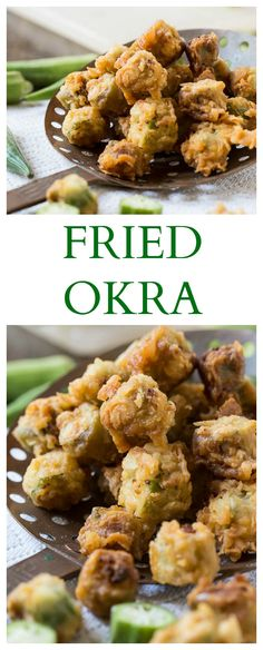 """Search for """"fried okra"""" - Spicy Southern Kitchen - Southern Fried Okra. So good you won't be able to stop popping it in your mouth! Okra Recipes, Vegetable Recipes, Cooking Recipes, Vegetarian Cooking, Veggie Food, Easy Cooking, Southern Kitchens, Southern Dishes, Healthy Southern Recipes"""