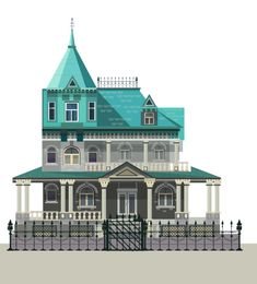Victorian house on Behance , flat,illustrate,illustration,kubra aslan, illustrator,detail