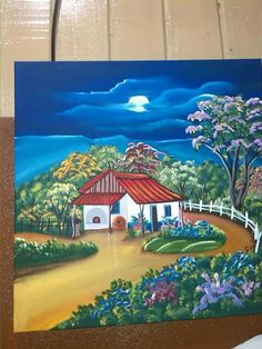 49 Ideas home is where the heart is canvas pictures Cool Paintings, Beautiful Paintings, Landscape Paintings, Canvas Pictures, Art Pictures, Flower Landscape, Cottage Art, Madhubani Painting, Picture On Wood