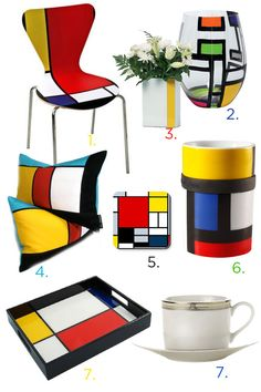 Get an artsy, colorful look for your home! With splashes of primary colors and fancy designs, these Mondrian inspired accessories are perfect for the modern art lovers in your life!