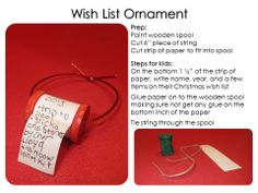 Wish list ornament: keepsake ornament with child's Christmas list