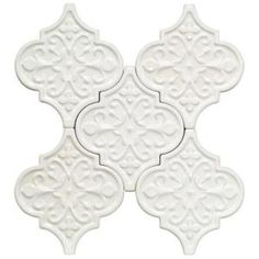 Splashback Tile Vintage Florid Lantern White 6-1/4 in. x 7-1/4 in. x 8 mm Ceramic Wall Mosaic Tile (5 Tiles Per Unit)-VINTAGEFLORIDLANLTWHT - The Home Depot
