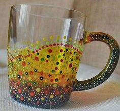 Stained glass mug coffee tea cup bright colours handmade unique