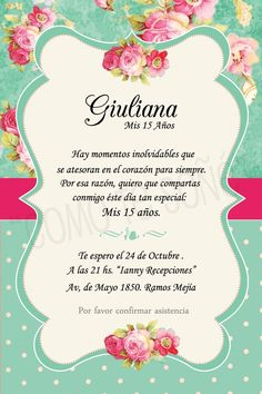 Belén Quince Invitations, Wedding Invitations, Pink Invitations, 15th Birthday, Birthday Parties, Quinceanera Planning, Sweet 15, Ideas Para Fiestas, Holidays And Events