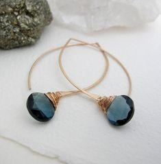 aac60cab7 Navy Quartz Briolette Long Hoops - Blue Gemstone - Blue Earrings -  Something Blue - Hoop Earrings -