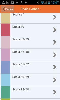 Apmato-made-app des Malerfachbetriebs Westermann & Co. KG in Mühlen, Westfalen, Norddeutschland ❧ List browsing module shows scala color shades.