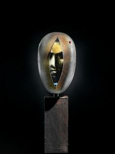 "Bertil Vallien (Swedish), Kosta Boda, ""Head"" Sand Cast Glass Sculpture with Internal Ornamentation. (Enlarge)"