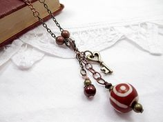 Valentine's Copper Lariat Necklace Beaded by LittleBitsOFaith, $25.00