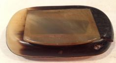 "Vtg 3-1/4"" Snuff Hinged Box Water Buffalo Horn ? Pulverized Tobacco Pinch Chew"