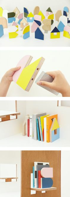 Great looking adaptable book stands | Torafu architects