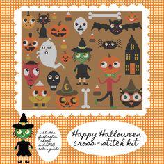 Kitschy Digitals :: Sewing & Needlework Patterns :: Happy Halloween Cross-Stitch Pattern