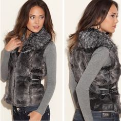 CLEARANCE PRICE faux fur vest Cozy up to faux fur with this fabulous zip-up vest. Layer it over a long-sleeve top and curve-hugging flared jeans for a downtown city-girl look that is sure to get noticed. Faux-fur vest. Shawl collar. Cable knit insets at sides of waist with faux-leather buckle detail. Faux-leather insets at back yoke and back hem. Curved front hem. Front zipper closure. Satin lining. 84% Acrylic, 16% Polyester. Lining: 100% Polyester.  Mint condition with no noted flaws Guess…