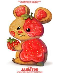 Cute Food Drawings, Cute Animal Drawings Kawaii, Cute Little Drawings, Cute Cartoon Drawings, Cute Cartoon Animals, Cute Animals, Cute Fantasy Creatures, Mythical Creatures Art, Cute Creatures