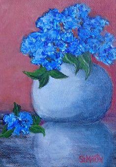 "Blue Haze by Annie St Martin Oil ~ 7"" x 5"" Monday, December 25, 2017 Still Life Flower Art Painting ""Blue Haze"" by Florida Impressionism Artist Annie St Martin"
