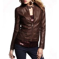 Express - Brown (Minus The) Leather Jacket