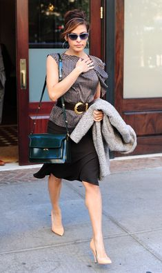 Eva Mendez: Marni Top Flap Triple Gusset Shoulder Bag