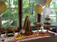 Custom dessert table - including traditional croquembouche, chocolates, miniature French pastries, macarons, cookies for garden party Croquembouche, French Patisserie, French Pastries, Lorraine, Dessert Table, Macarons, Chocolates, Montreal, Miniature