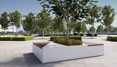 SMART BENCHES Materials: reconstituted natural marble stones or white granite. Finishing: sandblasted with polished or bush hammered seat surface. Accessories: wooden slats seat, inside steel planter.