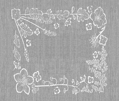 graphic grey and white floral napkin fabric by mypetalpress on Spoonflower - custom fabric